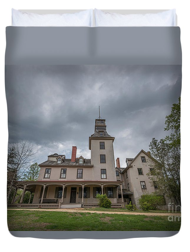 Ominous Clouds Duvet Cover featuring the photograph Ominous Clouds At Batsto Village by Michael Ver Sprill