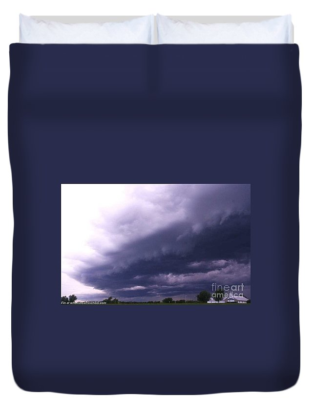 Ominous Clouds Duvet Cover featuring the photograph Ominous Clouds by PainterArtist FIN