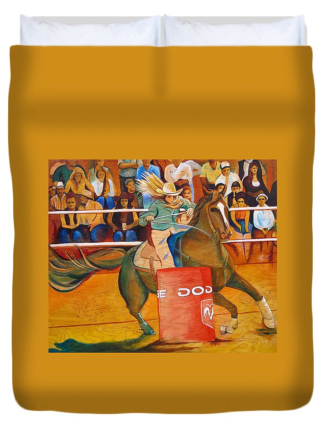 Horse Duvet Cover featuring the painting On A Dime by Joshua Morton