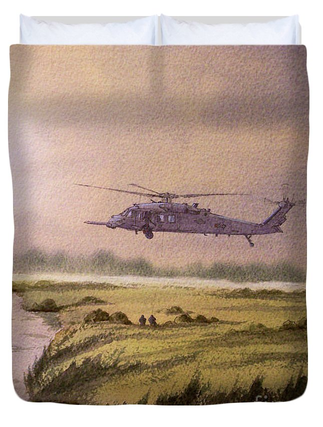 Helicopter Duvet Cover featuring the painting On A Mission - Hh60g Helicopter by Bill Holkham