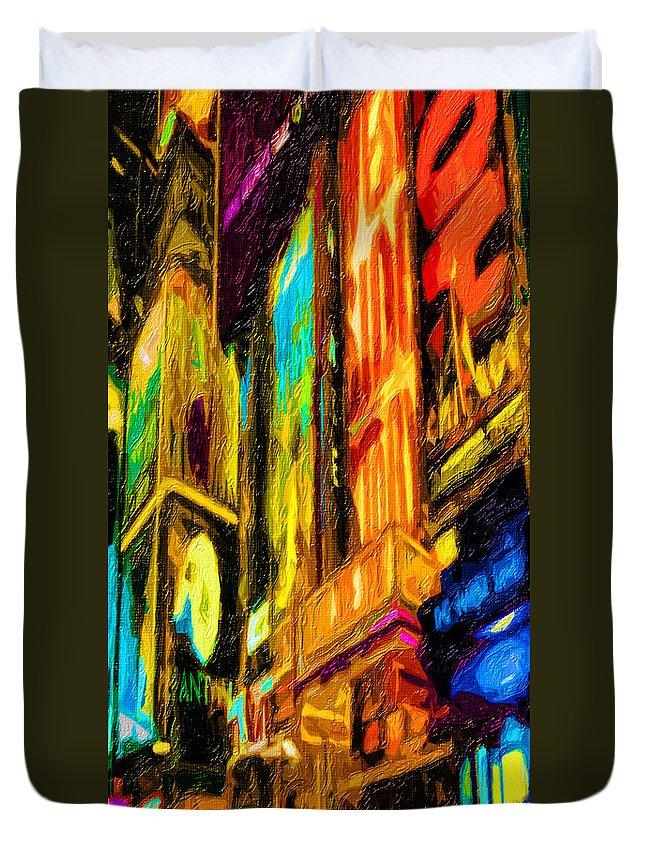 Broadway Duvet Cover featuring the digital art On Broadway by Terry Fiala