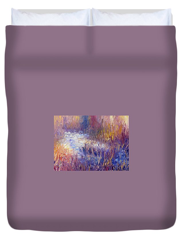 Snow Duvet Cover featuring the painting On Frozen Pond by Terry Chacon
