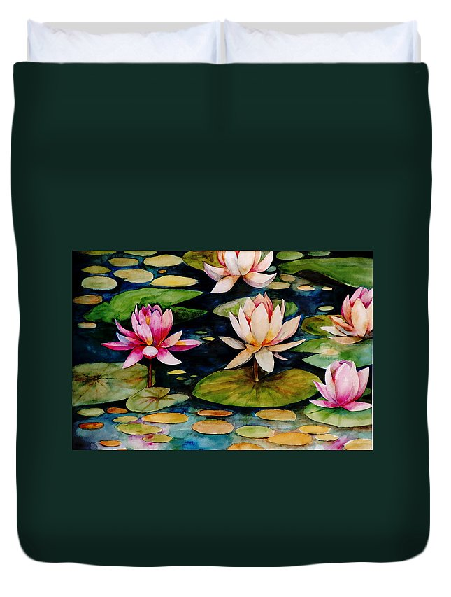 Lily Duvet Cover featuring the painting On Lily Pond by Jun Jamosmos