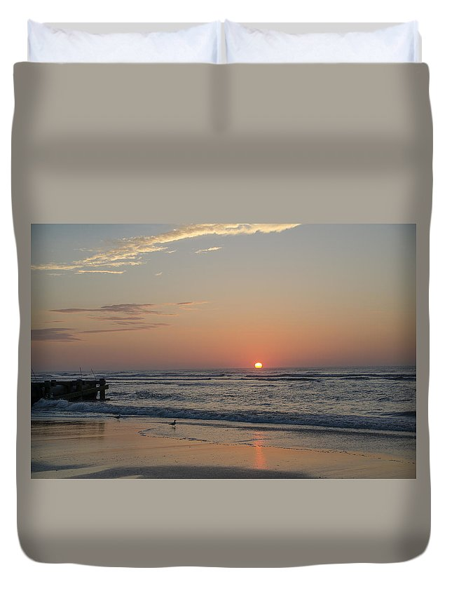 Beach Duvet Cover featuring the photograph On The Beach At Sunrise - Wildwood New Jersey by Bill Cannon
