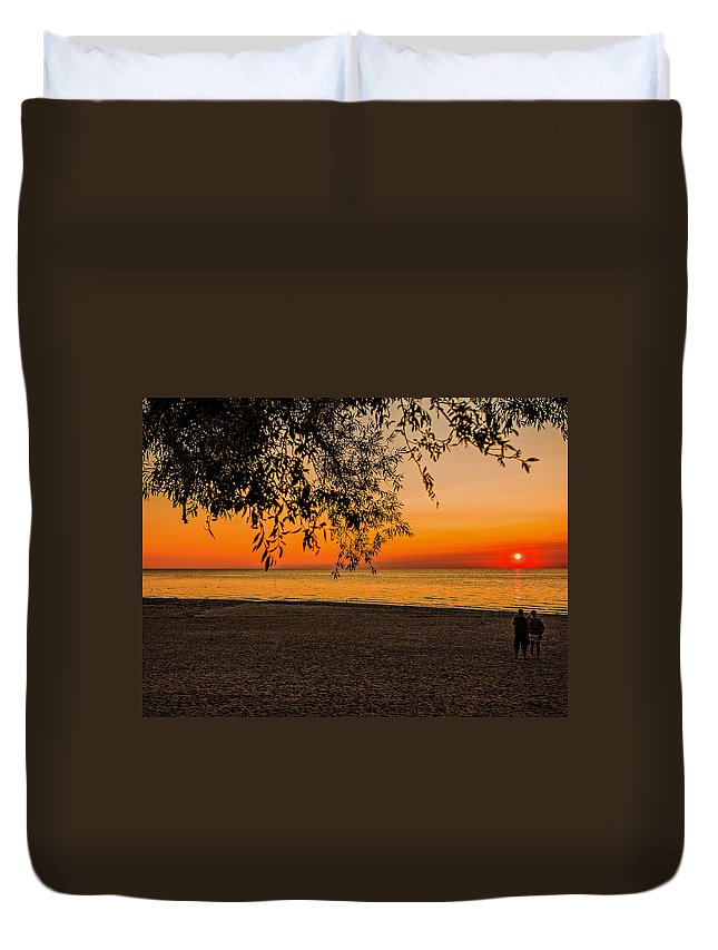 Sunset Duvet Cover featuring the photograph On The Beach by Jim Markiewicz