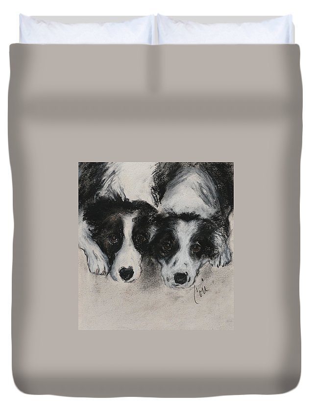 Border Collie Duvet Cover featuring the drawing On The Border by Cori Solomon