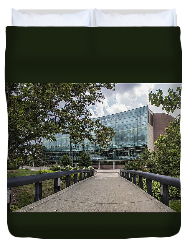 Michigan State University Duvet Cover featuring the photograph On The Bridge At Wharton by John McGraw