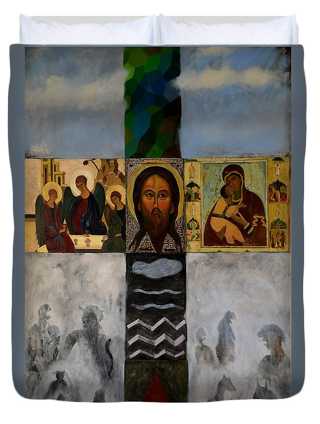 Cross Duvet Cover featuring the painting On The Cross by Jukka Nopsanen