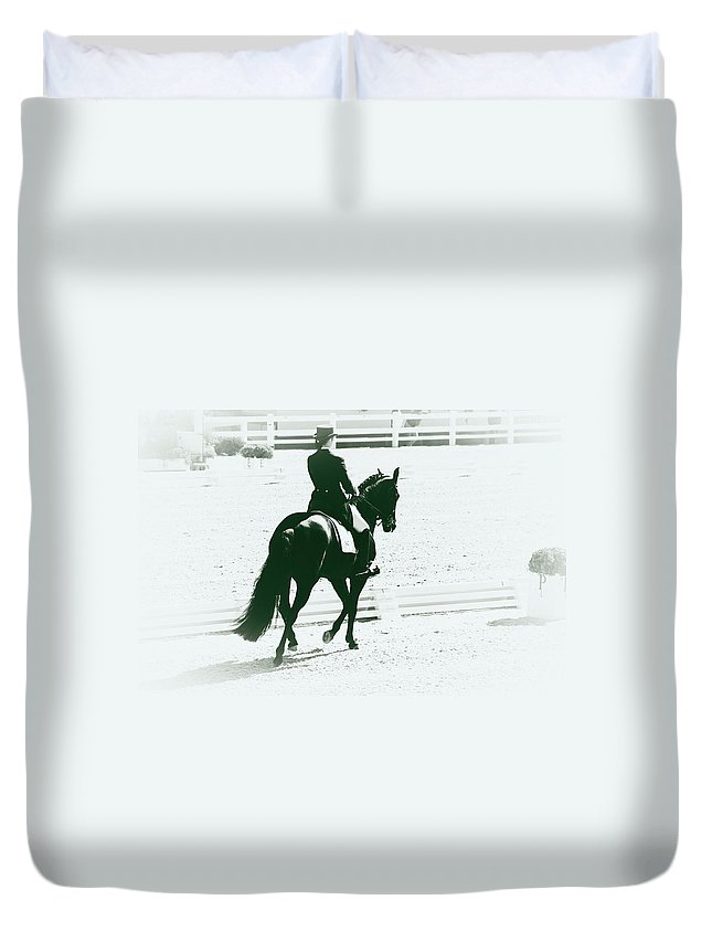 Dressage Duvet Cover featuring the photograph On The Long Side by Alice Gipson