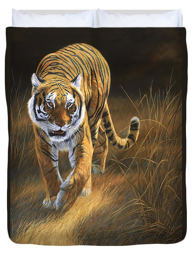 Tiger Duvet Cover featuring the painting On The Move by Lucie Bilodeau