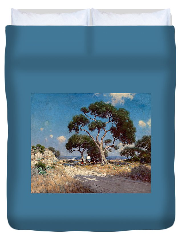 Julian Onderdonk Duvet Cover featuring the painting On The Old Blanco Road Southwest Texas by Julian Onderdonk