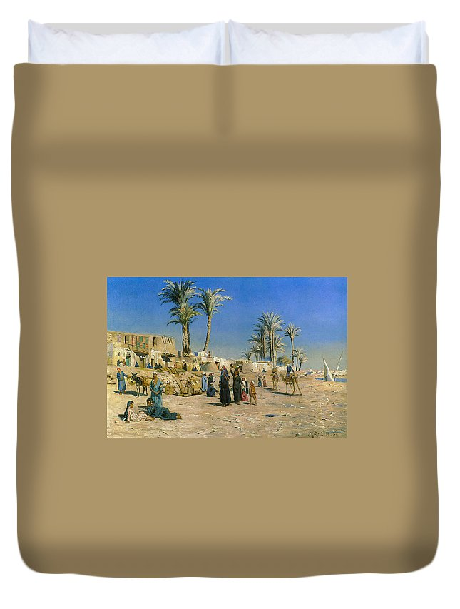 Peder Mork Monsted Duvet Cover featuring the digital art On The Outskirts Of Cairo by Peder Mork Monsted
