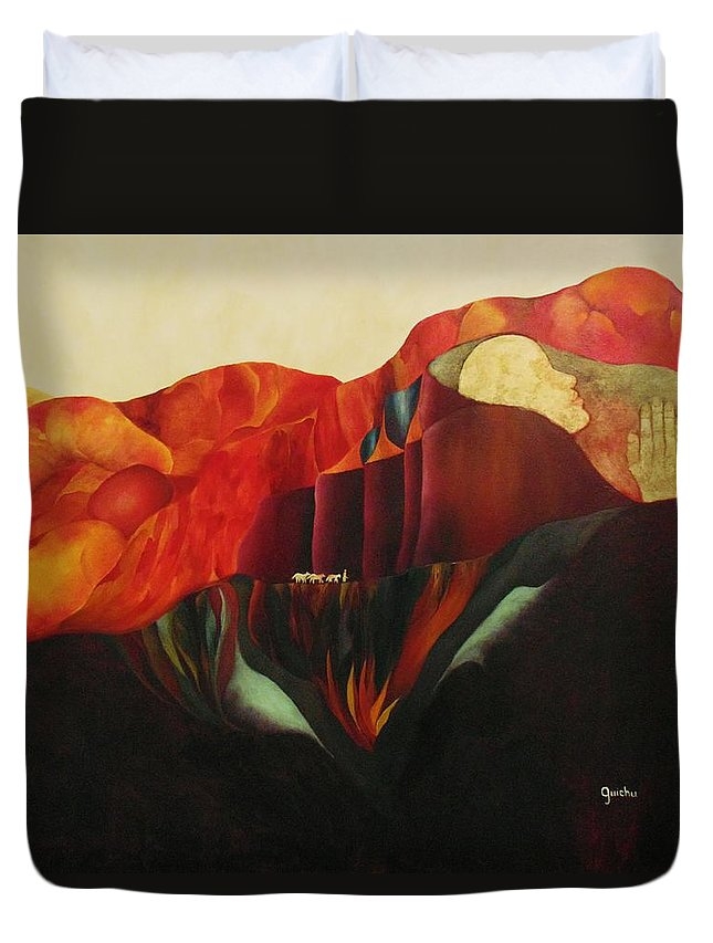 Oil Duvet Cover featuring the painting On The Road To Enlightenment by Peggy Guichu