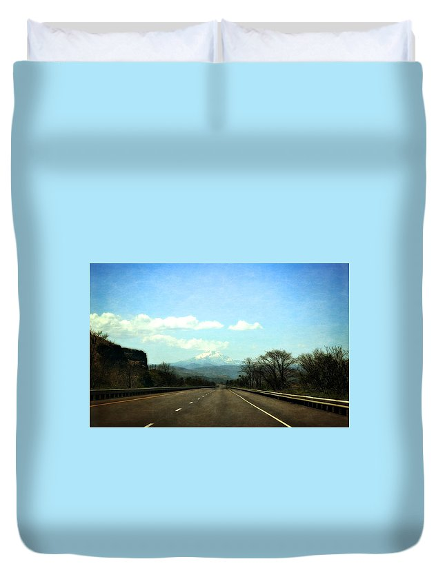 Mount Hood Duvet Cover featuring the photograph On The Road To Mount Hood by Michelle Calkins