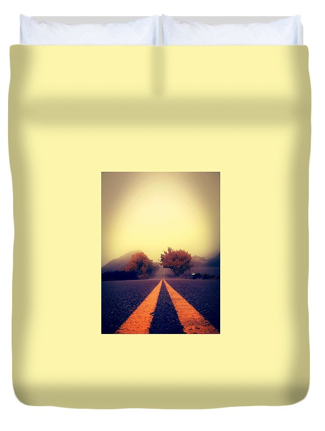 Road Duvet Cover featuring the photograph On The Road To Nowhere by Alma Reyes