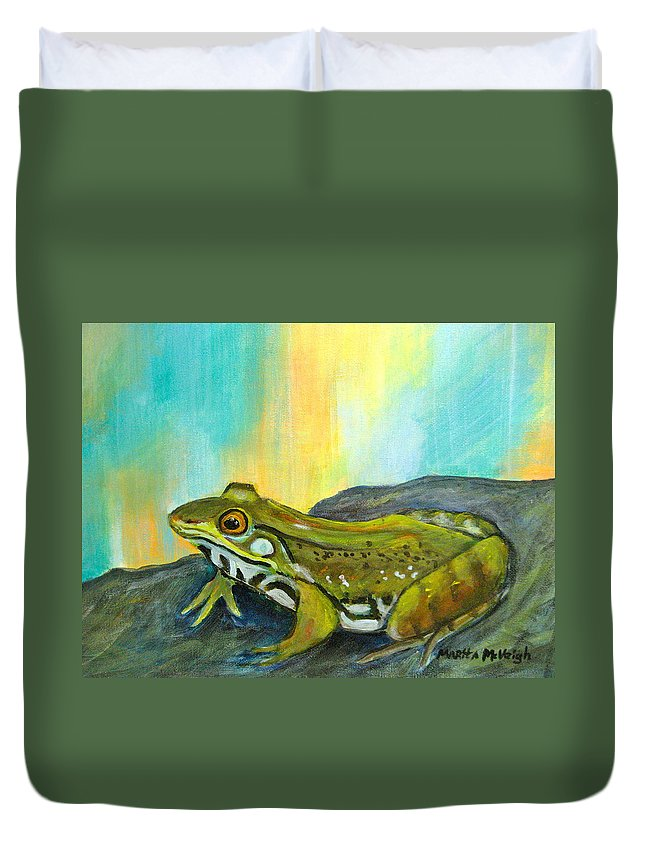 Frog Duvet Cover featuring the painting On The Rocks by Marita McVeigh