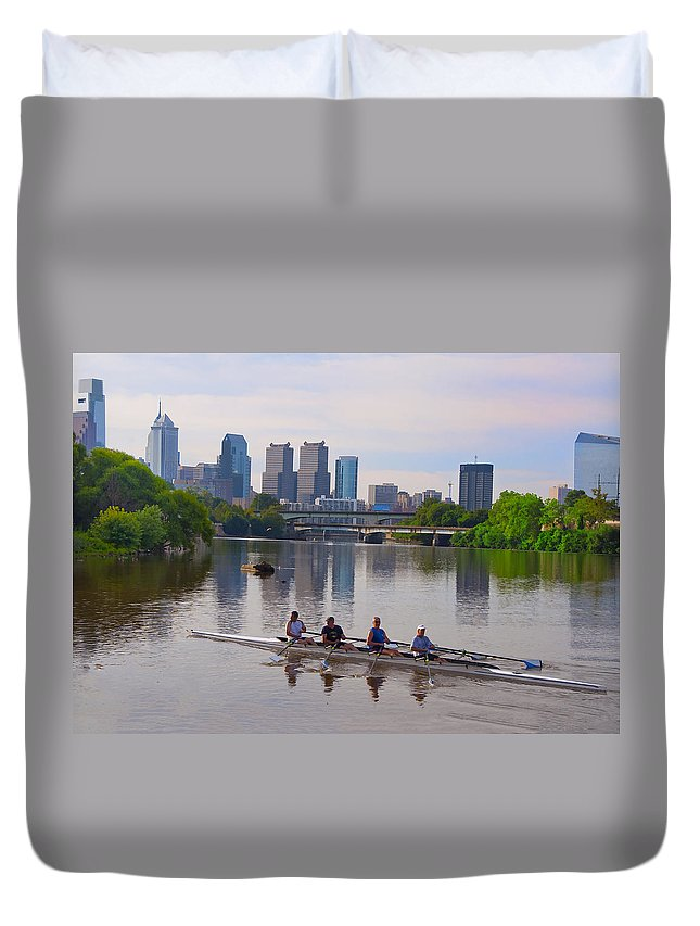 On The Duvet Cover featuring the photograph On The Schuylkill by Bill Cannon