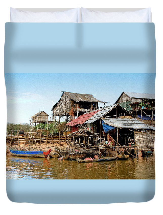 Bamboo Huts Duvet Cover featuring the photograph On The Shores Of Tonle Sap by Douglas J Fisher