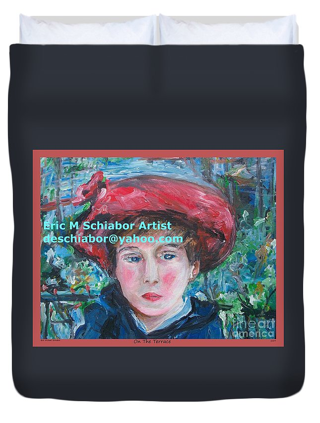 Renoir Duvet Cover featuring the painting On The Terrace Renoir Rendition by Eric Schiabor