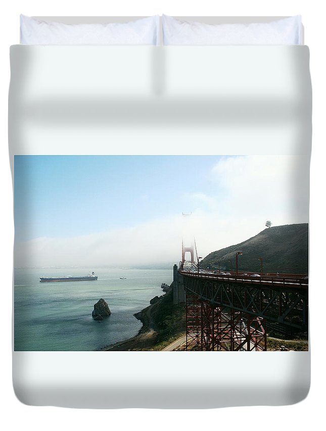Bridge Duvet Cover featuring the photograph On The Way Back To San Francisco by Christiane Schulze Art And Photography