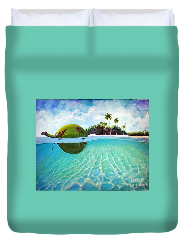 Coconut Duvet Cover featuring the painting On The Way by Jose Manuel Abraham