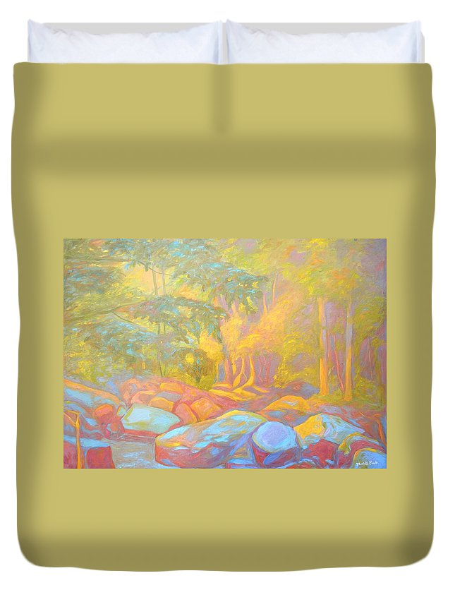 Kendall Kessler Duvet Cover featuring the painting On The Way To The Cascades by Kendall Kessler