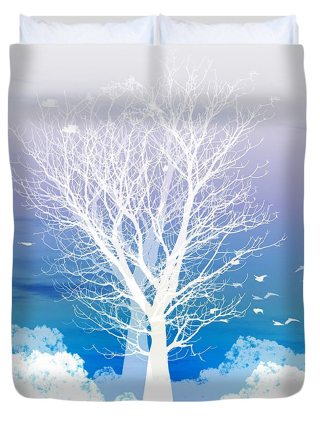 Tree Duvet Cover featuring the photograph Once Upon A Moon Lit Night... by Holly Kempe
