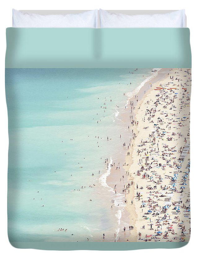 Water's Edge Duvet Cover featuring the photograph Ondarreta Beach, San Sebastian, Spain by John Harper