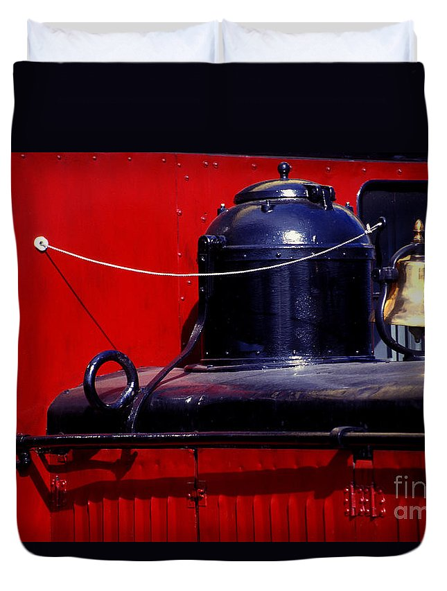 Railroad Duvet Cover featuring the photograph One Brass Bell by Paul W Faust - Impressions of Light
