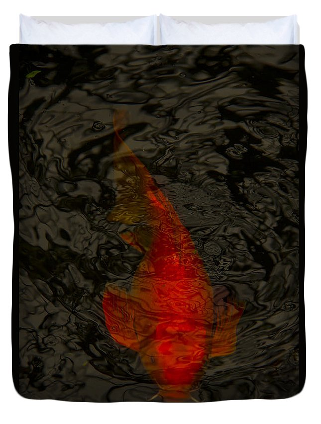 Fish Duvet Cover featuring the photograph One Koi by Margie Hurwich