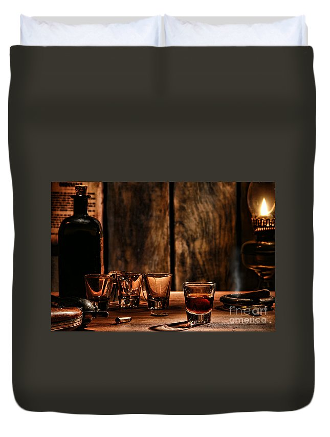 Saloon Duvet Cover featuring the photograph One Last Drink by Olivier Le Queinec