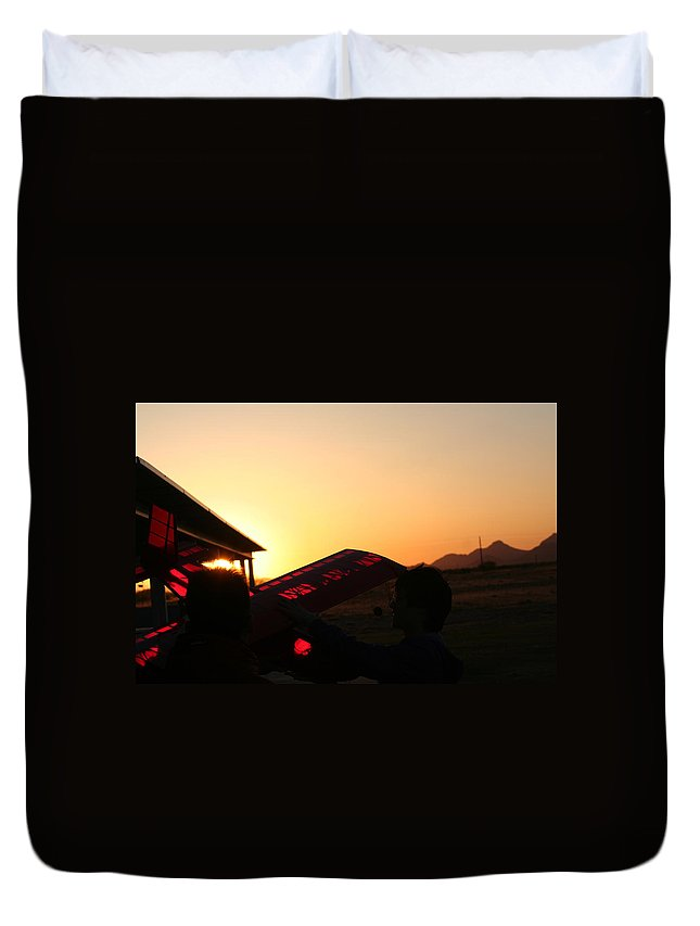 Plane Duvet Cover featuring the photograph One More Flight by David S Reynolds