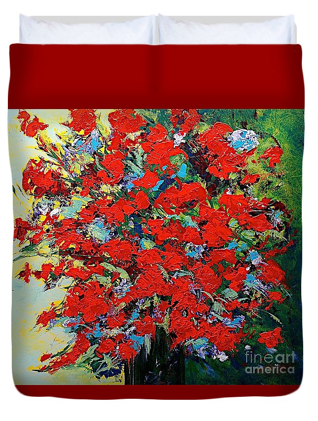 Landscape Duvet Cover featuring the painting One Of A Kind by Allan P Friedlander