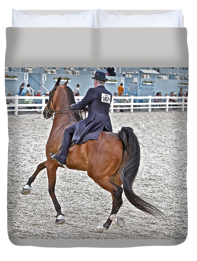 Devon Horse Show Gaited Horses Man Rider Pennsylvania Duvet Cover featuring the photograph One Six Five Seven by Alice Gipson