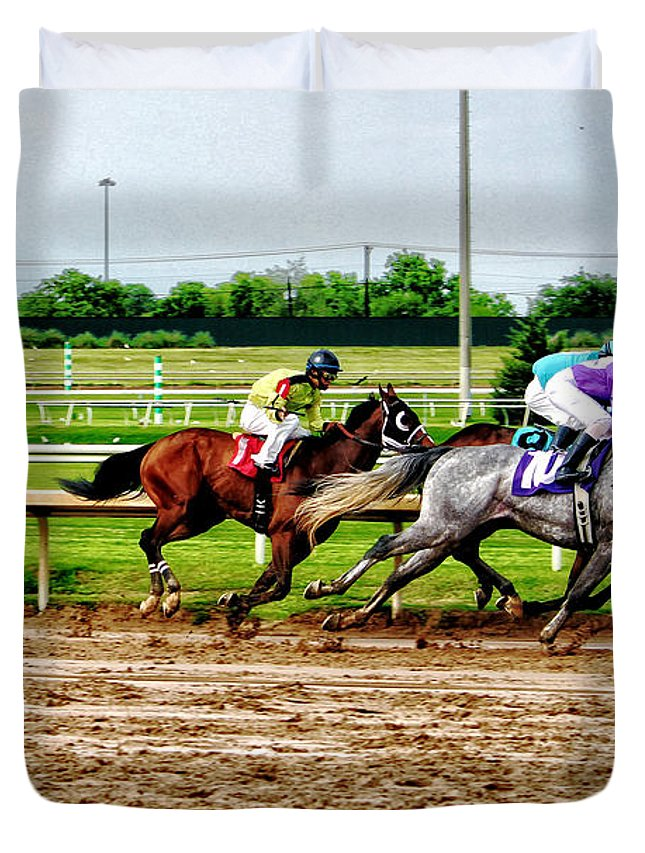 Horse Racing Duvet Cover featuring the photograph One Two Three 026mx by Earl Johnson