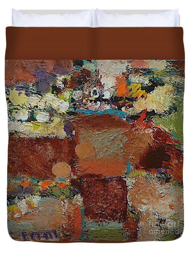 Landscape Duvet Cover featuring the painting One Way by Allan P Friedlander
