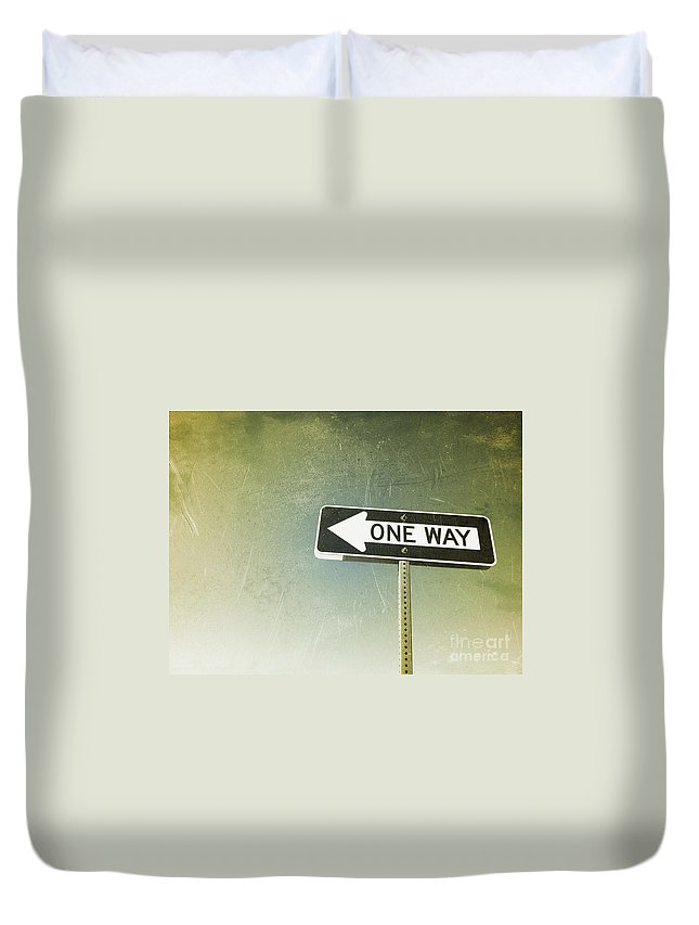 American Duvet Cover featuring the photograph One Way Road Sign by Bryan Mullennix