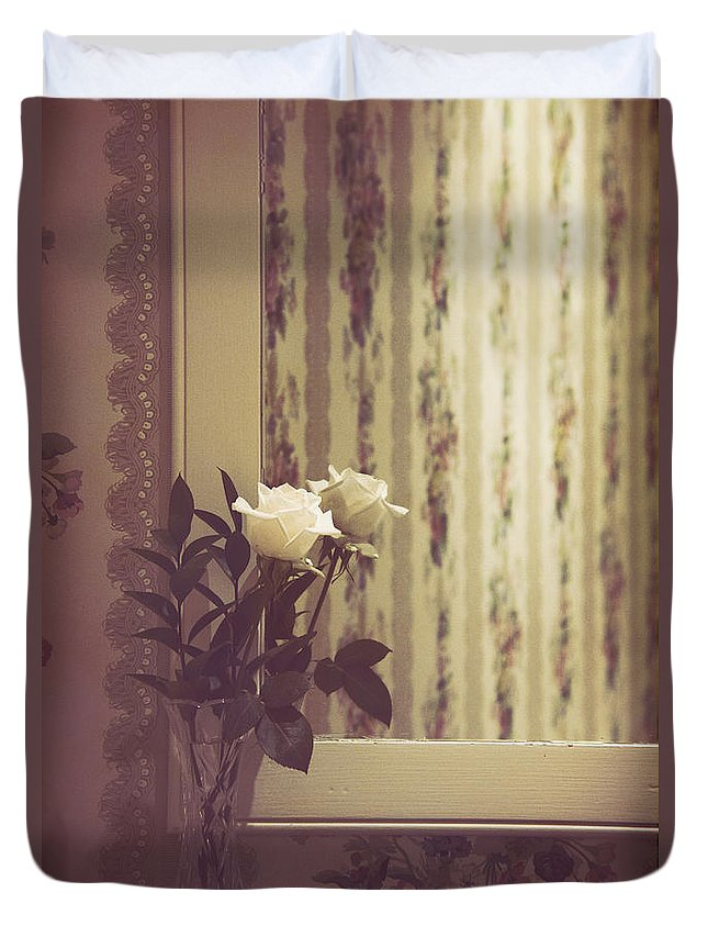 Rose Duvet Cover featuring the photograph One White Rose by Margie Hurwich