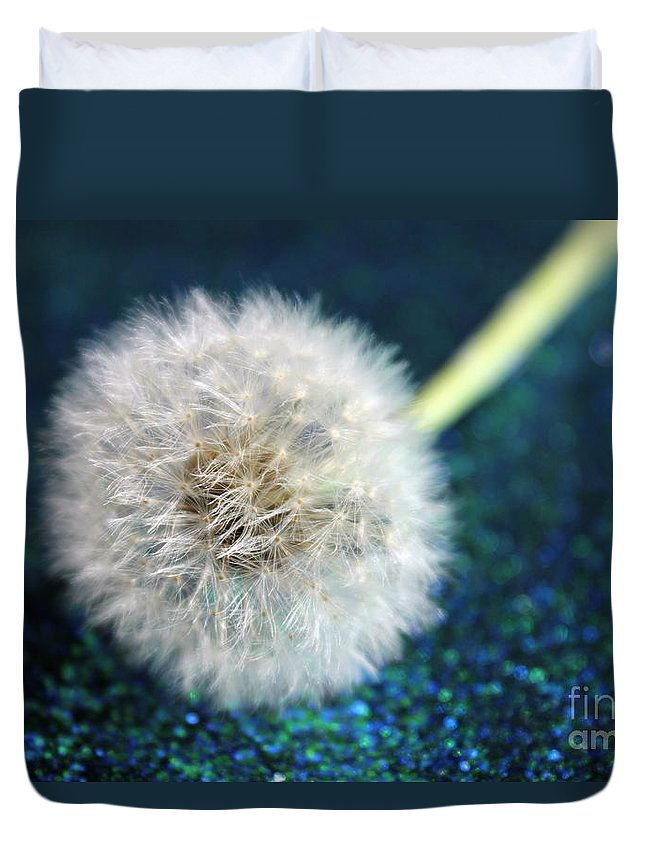 Dandelion Duvet Cover featuring the photograph One Wish by Krissy Katsimbras