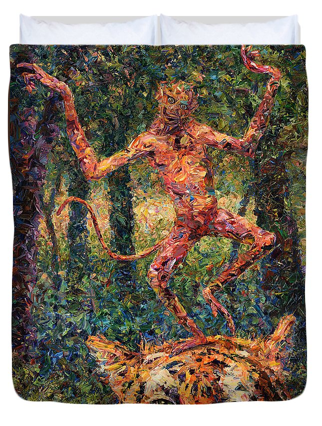 Monkey Duvet Cover featuring the painting Only A Crazy Monkey Dances On A Tiger's Head by James W Johnson