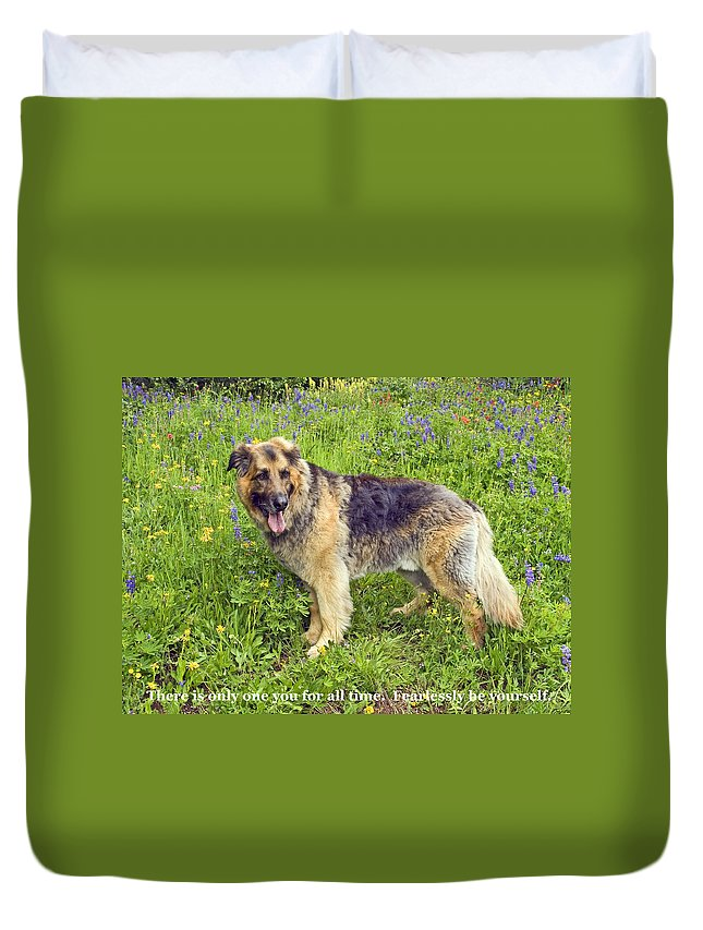 Large Dog Standing Duvet Cover featuring the photograph Only One You by Sally Weigand