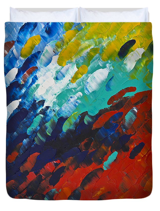 Color Duvet Cover featuring the painting Only Till Eternity 1st Panel by Sharon Cummings