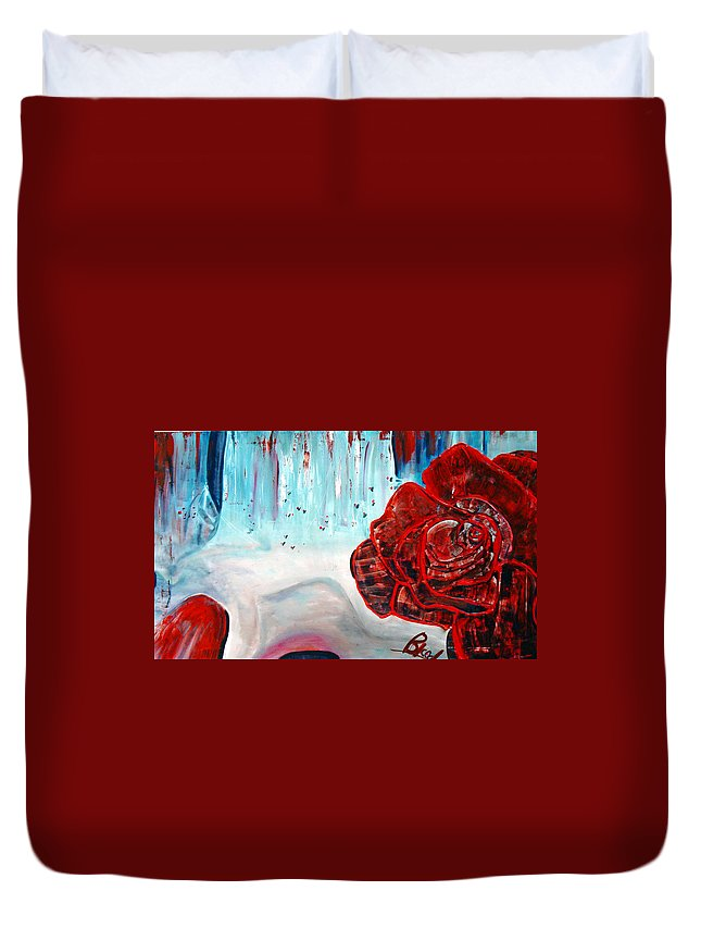 Landscape Duvet Cover featuring the painting Op And Rose by Peggy Blood