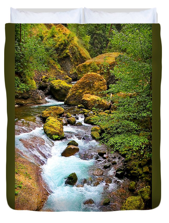 Wahclella Falls Duvet Cover featuring the photograph Opal Rivers by Athena Mckinzie