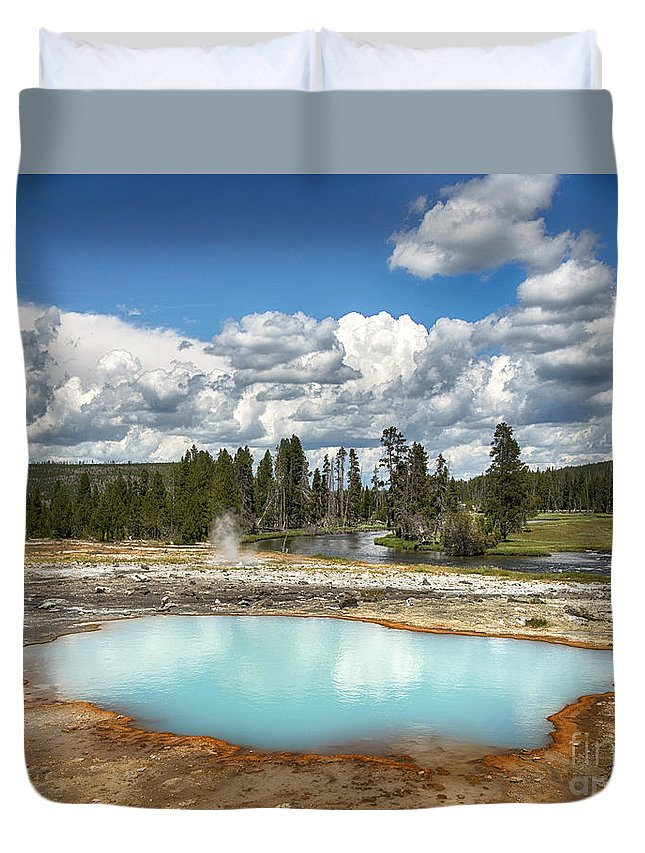 Geyser Duvet Cover featuring the photograph Opalescence by Claudia Kuhn