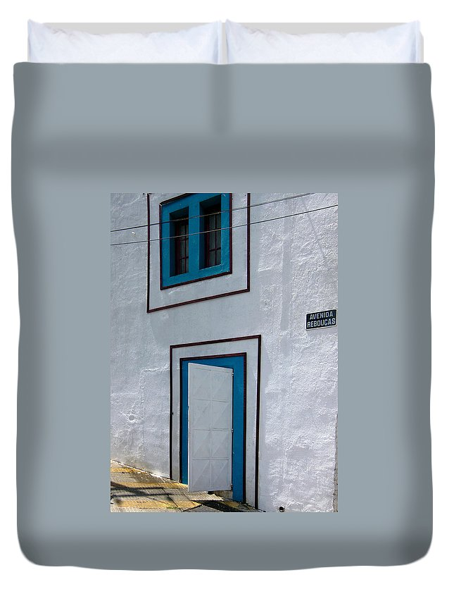 Architecture Duvet Cover featuring the photograph Open Door On Avenida Reboucas by Julie Niemela