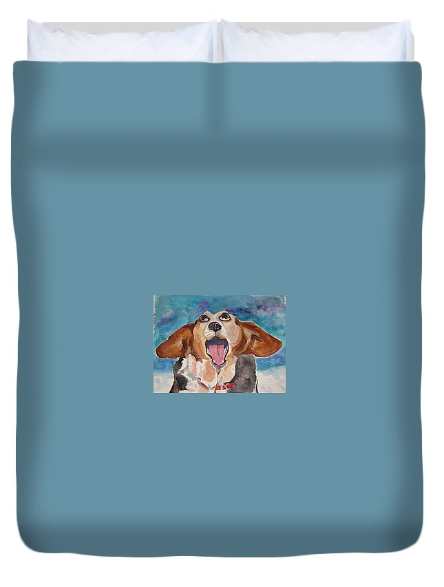 Basset Hound Duvet Cover featuring the painting Opera Dog by Brenda Kennerly