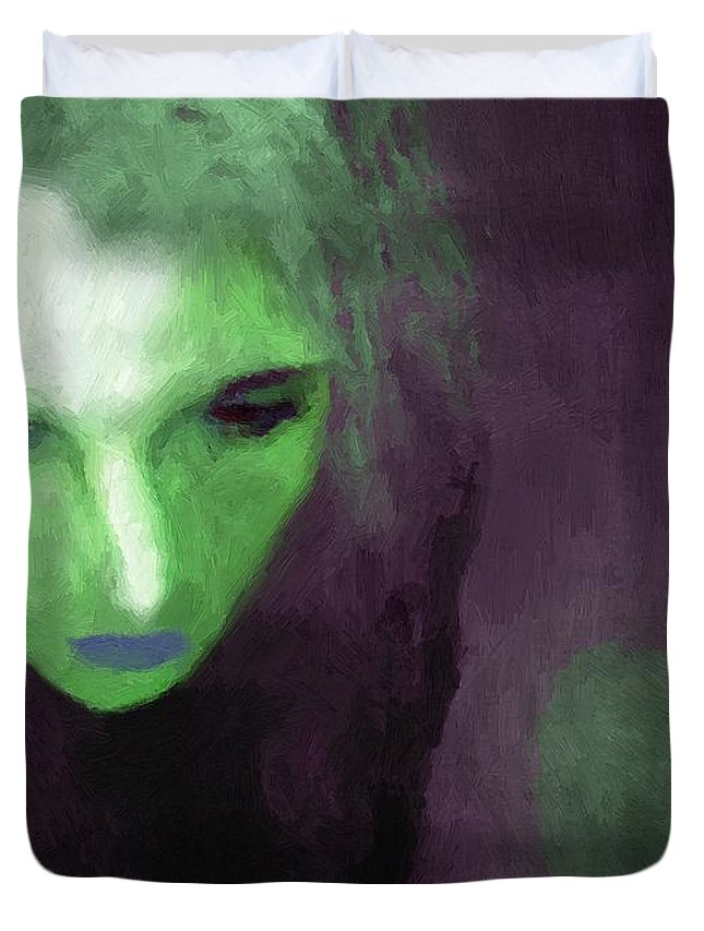 Woman Duvet Cover featuring the painting Ophelia Condemned by RC DeWinter