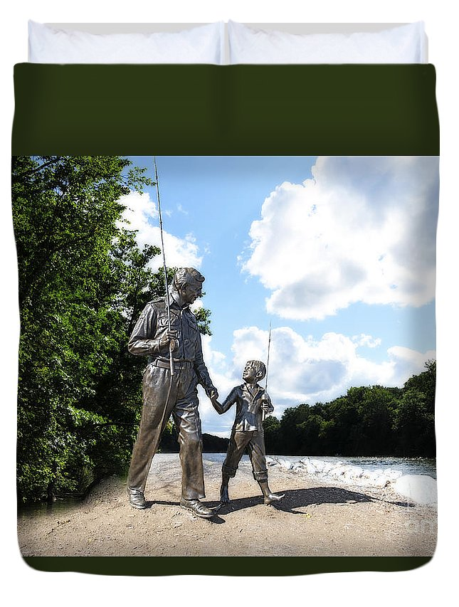 Opie And Andy Duvet Cover featuring the photograph Opie And Andy Go Fishin by David Arment