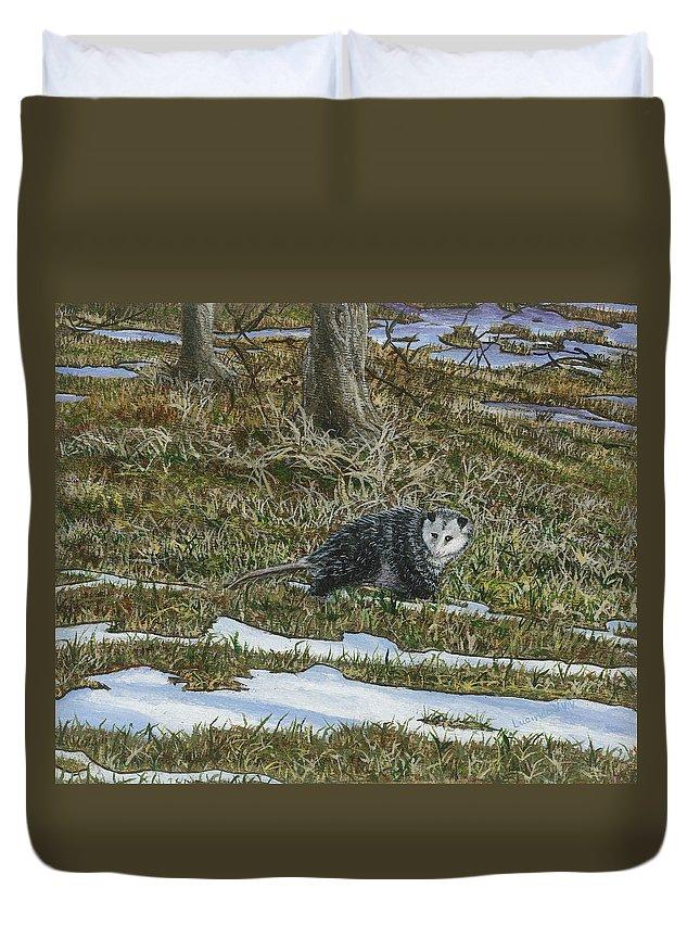 Opossum Duvet Cover featuring the painting Opossum by Lucinda V VanVleck